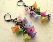 Lucite Flower Earrings, Flower Earrings, Swarovski Earrings, Lucite Earrings, Pink Earrings, Purple Earrings, Chain Earrings, Dangle Earring
