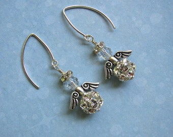 Rhinestone Angel Earrings, Holiday Earrings, Swarovski Earrings, Angel Earrings, Christmas Earrings, Angel Jewelry, Dangle Earrings