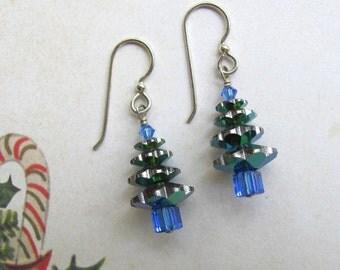 Christmas Tree Earrings, Holiday Earrings, Swarovski Earrings, Blue Earrings, Tree Earrings, Christmas Jewelry , Dangle Earrings, Blue Tree