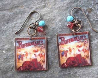 Cowgirl Scrabble Tile Earrings, Cowboy Earrings, Swarovski Earrings, Southwest Earrings, Country Western, Western Earrings, Dangle Earrings