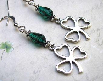 St. Patricks Day Earrings, Shamrock Earrings, Clover Earrings, Swarovski Earrings, Green Earring, St. Patrick's Day Jewelry, Holiday Earring