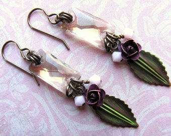 Pink Rosebud Earrings, Vintaj Earrings, Swarovski Earrings, Rose Earrings, Flower Earrings, Pink Earrings, Dangle Earrings, Spring Earrings