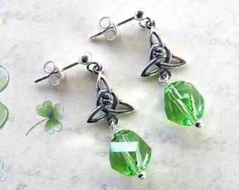 St. Patricks Day Earrings, Celtic Earrings, Green Earrings, Irish Earrings, Swarovski Earrings, St. Patrick's Day Jewelry, Holiday Earrings