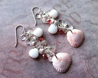 Sea Shell Earrings, Lucite Shell Earrings, Swarovski Earrings, Beach Earrings, Sea Shell Jewelry, Beach Jewelry, Pink Earring, Shell Jewelry