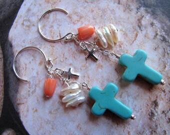 Turquoise Cross Earrings, Turquoise Earrings, Coral Earrings, Pearl Earrings, Dangle Earrings, Southwest  Earrings, Cowgirl Earrings