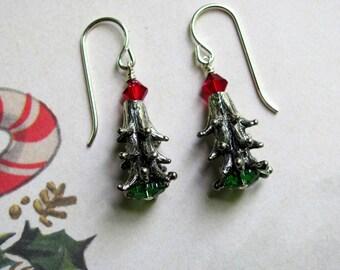 Christmas Pine Tree Earrings, Holiday Earrings, Swarovski Earrings, Christmas Earrings, Christmas Tree Earrings, Christmas Jewelry
