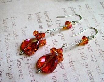 Astral Pink Earrings, Pink Earrings, Orange Earrings, Swarovski Earrings, Chain Earrings, Dangle Earrings, Statement Earrings, Astral Pink