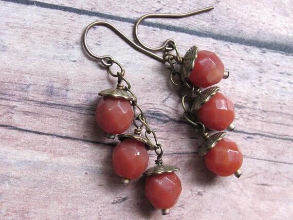 Acorn Earrings, Autumn Earrings, Fall Earrings, Brown Earrings, Glass Acorn Earrings, Autumn Jewelry, Dangle Earrings, Chain Earrings