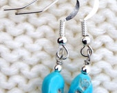 Natural Turquoise Earrings, Navajo Earrings, Turquoise Earrings, Turquoise Nugget Earrings, Turquoise Drop Earrings, Native Jewelry