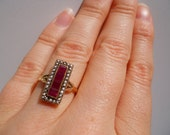 Reserved for Ellen Estate 14kt Yellow Gold Ruby and Seed Pearl Ring Size 5 1/2
