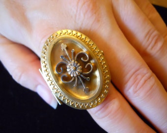 Antique late 1800 Gold Plated Locket Ring