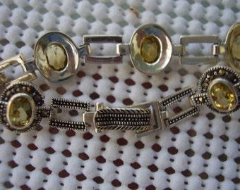 Old Citrine and Marcasite Bracelet