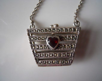 Sterling silver garnet & marcasite purse necklace