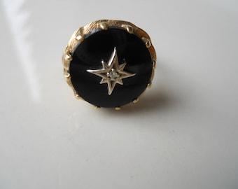Rare Estate Onyx and Diamond Gold Ring Size 7 1/2