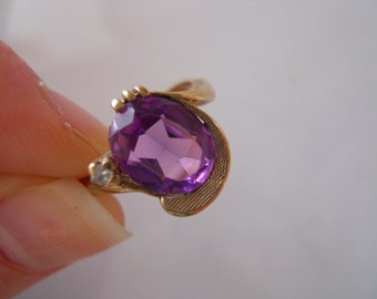 Unique Antique Amethyst and Diamond Gold Ring Size 6 1/4