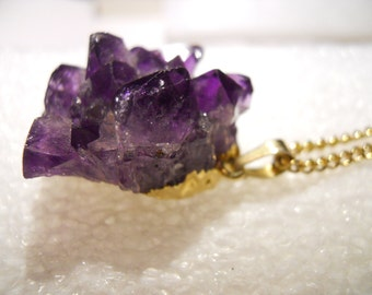 Unique Raw Amethyst Crystal Pendant with chain