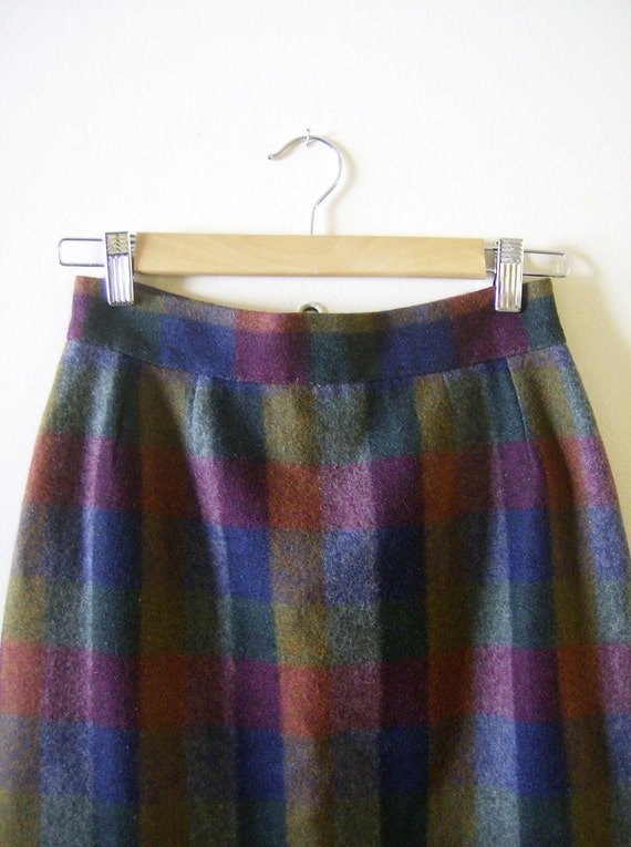 Colorful Wool Pencil Skirt S 26 Waist