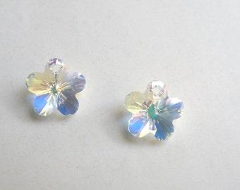 2 Swarovski Flower crystal pendants Clear Crystal AB Swarovski Elements 12mm 8756CY