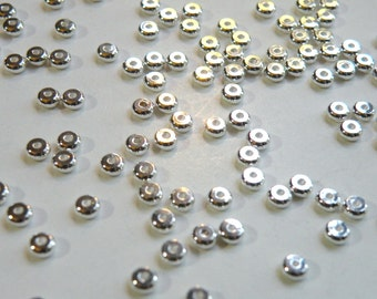 25 round heishi rondelles shiny silver plated brass spacer beads 5x2mm 9323MB