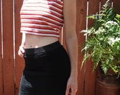 1970s Groovy Red, Orange, White Striped Crop Tank Top / Womens Size Large