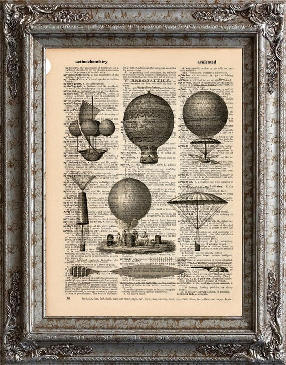 Aeronautics 1 Flying Machines on Vintage Upcycled Dictionary Art Print Book Art Print Balloons