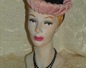 1940's Black/Pink Ruched Hat  Item #253-AH