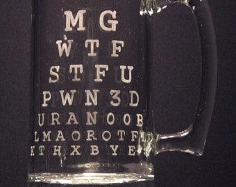 Gamer Eye Test, Video Game inspired Beer Mug Engraved/Etched Glass