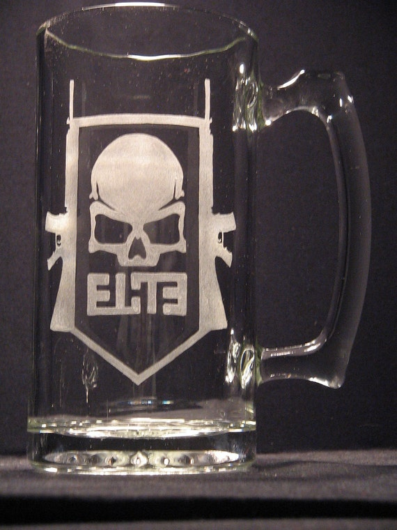 Call of Duty COD Elite Black Ops  inspired Beer Mug Engraved Glass call of duty glasses