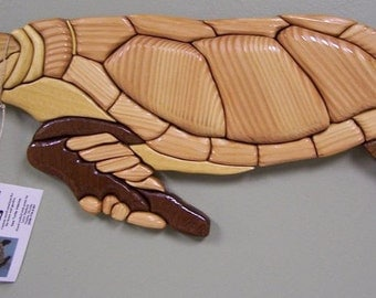 Sea Turtle Wall Art Home Decor made of Recycled Upcycled Wood Handmade Hand Carved