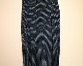 Long Navy Polka Dot Wrap Skirt
