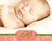 Avery Photo Birth Announcement - Digital File, You Print OR I Print