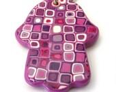 Polymer Clay Hamsa Keychain in Shades of Purple Retro Pattern