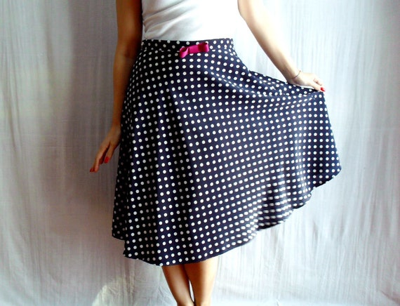 Blue polka dot skirt - circle skirt 50s inspired skirt womens clothes