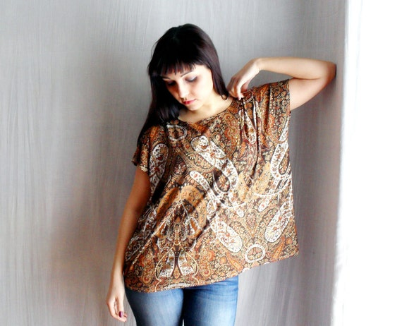 Brown boxy tshirt top  loose tshirt  in jersey