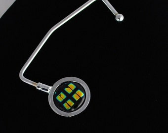 Fused Dichroic Glass Purse Hanger