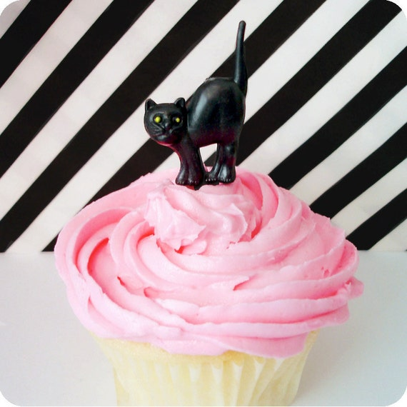 12 Halloween Cat Cupcake Picks Spooky Black Cat Cake Toppers