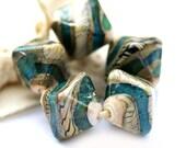 Lampwork beads - handmade crystals set SRA -  beige ivory, teal, aqua blue, ocean, rustic