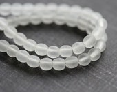Matte clear beads, czech glass, crystal clear, frozen clear, white beads, round spacers, druk - 5mm - 40Pc - 0837