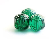 10mm beads, Teal green czech glass rounds,  cathedral beads with light silver ends, deep green - 10Pc - 0084