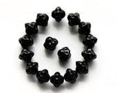 Jet black bicones, czech glass beads, black beads, pressed glass bicone - 6mm - 30Pc - 1165
