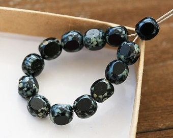Picasso beads, Jet Black round 6mm Czech glass beads, Fre polished round cut - 30PC - 0163