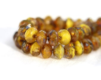 Picasso beads, tiny spacers, czech glass beads mix - mustard yellow, brown - gemstone cut, rondels - 3x5mm - 35Pc - 0728