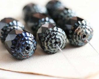 8mm Black cathedral beads, picasso czech glass beads, rustic, round fire polished - 15Pc - 2260