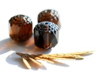 Glass beads Smokey Topaz cathedral czech - large, dark topaz beads - 10mm - 10Pc - 0126