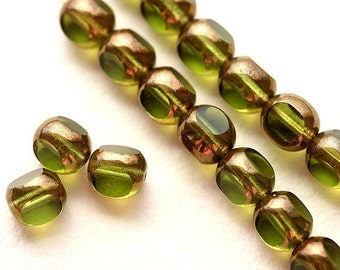 8mm Olivine glass czech beads with bronze luster, Olive Green round cut, fire polished beads - 15Pc - 1273