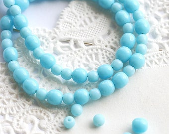 4-3mm Blue glass beads MIX, Czech round spacers, druk, blue pressed beads - approx.100Pc - 0325