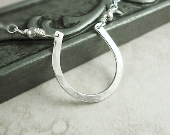 Sterling Silver Horseshoe Necklace -- Small Horseshoe Necklace -- Lucky Horseshoe Necklace