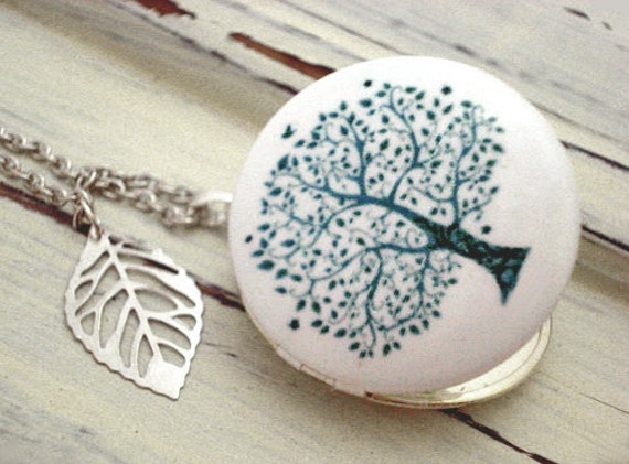 Delicate Tree Of Life - soft grey-blue, enameled locket necklace with silver leaf charm and long necklace