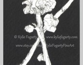 Black and White Pen and Ink Handpainted Blossom Flower no 2 Original Painting - Botanical Painting