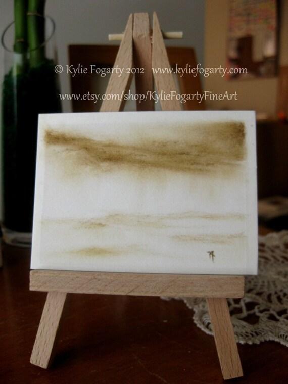 ACEO - Original - Conte - Drawing -- Distant Rain -- Sepia / Brown Toned Charcoal Mini Artwork
